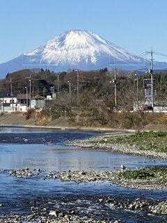 新年,富士、富士山、散歩道、川、山,新春、青空