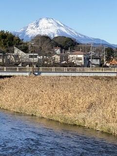 青空,正月,新年,富士、富士山、散歩道、川、山