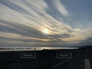 自然,風景,空,屋外,ビーチ,雲,夕暮れ,水面,海岸,平塚海岸