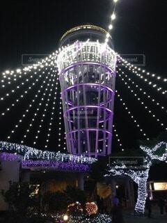 夜,紫,照明,明るい,タワー、江ノ島、イルミネーション,シーキャンドル、サムエルコッキング苑,ライトアップ、風物詩