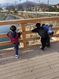 風景,橋,屋外,川,人物,人,子供達