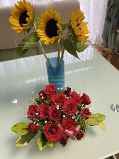 花,屋内,花束,花瓶,バラ,薔薇,たくさん,フラワーアレンジ,花柄,草木,切り花