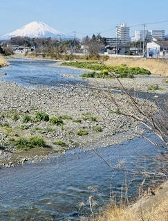 自然,空,富士山,屋外,川,水面,草,流れ,川原