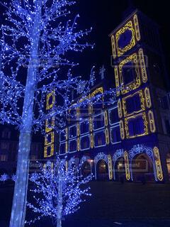 夜,照明,明るい,テキスト,クリスマス ツリー