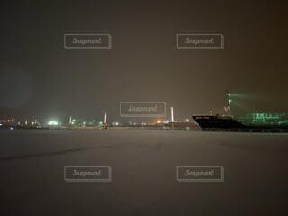 風景,空,夜,夜景,船,霧
