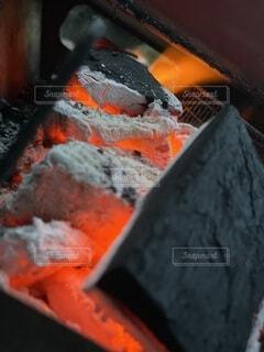 赤,火,BBQ,炭,赤い炎