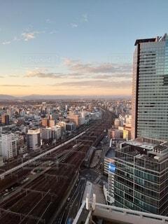 空,建物,夕日,線路,都会,高層ビル,鉄道