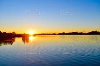 自然,風景,空,屋外,湖,太陽,綺麗,川,水面,反射,朝,元旦,日の出,初日の出,始まり,1年