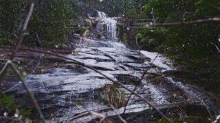 自然,風景,雪,屋外,水,水面,滝,樹木,広島,草木,岩壁,真冬,流れる,ひろしま,岩肌,スロー,雪降る,スローモーション,石ヶ谷峡
