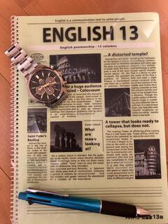 英語ノートとペンと時計の写真・画像素材[4107636]