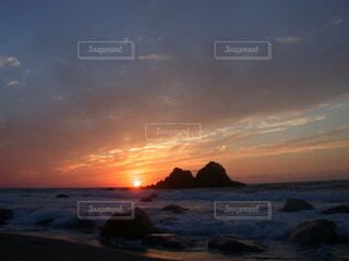 自然,風景,海,空,屋外,太陽,ビーチ,雲,砂浜,夕暮れ,水面,海岸,岬