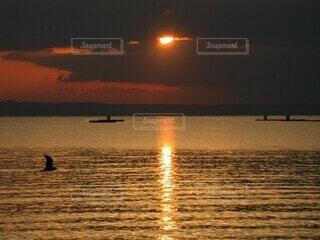 自然,風景,海,空,鳥,屋外,湖,太陽,ビーチ,雲,夕暮れ,船,水面,水平線,夕陽,糸島