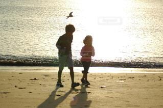 自然,海,鳥,屋外,砂,ビーチ,砂浜,夕暮れ,波,海辺,水面,海岸,水平線,少女,光,仲良し,逆光,幼児,夕陽,少年,福岡,兄弟,糸島,玄界灘,効果