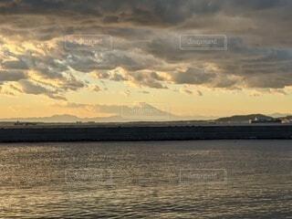風景,空,富士山,雲,夕暮れ