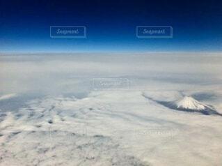 空,富士山,雲,飛行機,空中,上空
