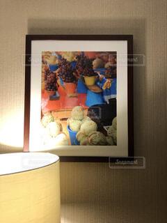 屋内,部屋,アート,夕方,ライト,果物,壁,絵画,鮮やかさ