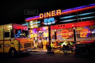 ハンバーガー,車,ネオン