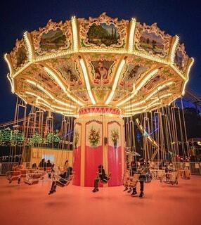 夜の遊園地の写真・画像素材[4084472]