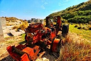 屋外,古い,トラクター,離島,景観,前島,陸上車両