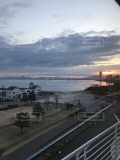 空,屋外,湖,朝日,日の出