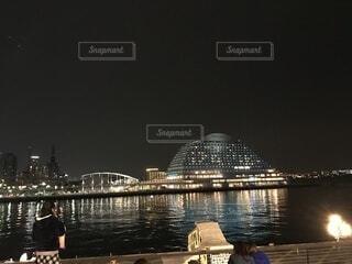 風景,空,夜,橋,屋外,船,都会,高層ビル
