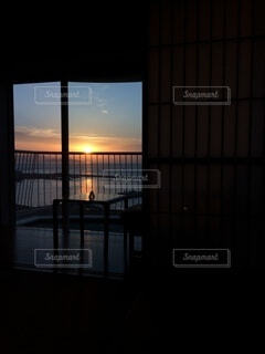 建物,夕日,窓,暗い,反射,明るい