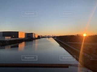 風景,空,橋,屋外,雲,水面,日の出,初日の出