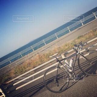 海,空,自転車,屋外,水平線