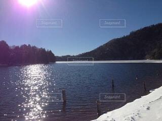 自然,風景,雪,湖,水面,海岸,日中