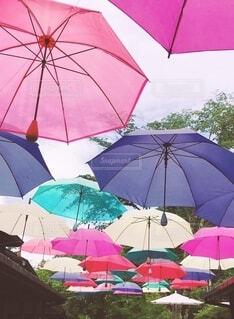 カラフルな傘アートの写真・画像素材[4026793]