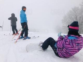 風景,空,冬,雪,屋外,山,人物,人,スキー,スノーボード,履物,スポーツ用品