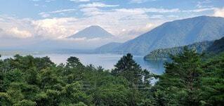 自然,風景,空,屋外,湖,緑,雲,水面,山,景色,樹木,お金,眺め,金運up,匠の1枚,千円札のモチーフ