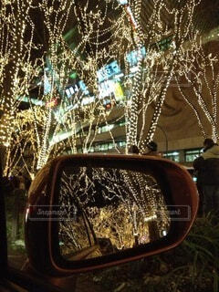 車,樹木,ライトアップ,明るい,ミラー,車両,フォトジェニック,光のページェント,色・表現,感覚・感情,クリスマス ツリー,陸上車両
