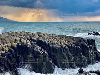 自然,風景,海,空,屋外,ビーチ,雲,水面,海岸,山,岩,東尋坊,日中