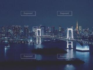 風景,空,建物,夜,橋,屋外,川,水面,都市,タワー,都会,高層ビル,スカイライン