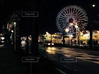 空,夜,屋外,観覧車,暗い,都会,景観