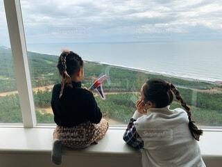女性,風景,空,湖,水面,海岸,子供,人,眺め