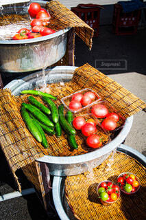食べ物,夏,屋外,トマト,キュウリ,真夏,食材