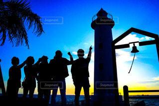 風景,海,空,屋外,人,灯台,夕陽