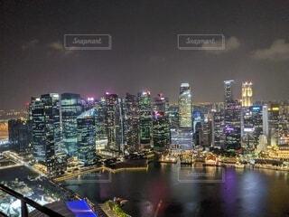 夜,夜景,都市,タワー,都会,高層ビル,シンガポール,スカイライン
