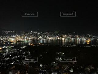 夜,夜景,湖,たくさん,長崎