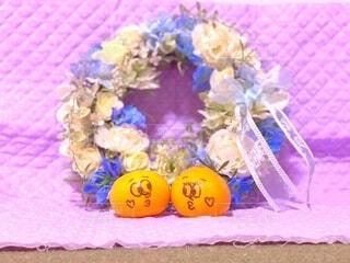 イラスト,結婚式,フルーツ,果物,らくがき,みかんの出会い