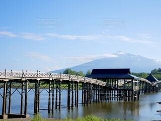 風景,空,屋外,湖,川,水面,桟橋,青森,岩木山,鶴の舞橋,富士見湖