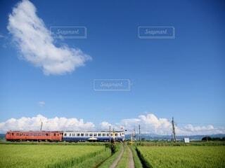 空,緑,雲,電車,青,景色,草,新緑,旅行,田んぼ,鉄道,インスタ映え