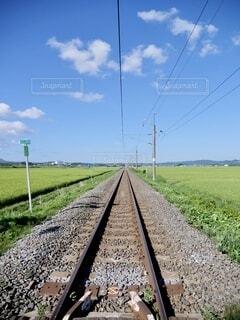 空,屋外,雲,電車,線路,草,旅行,旅,鉄道,日中,長い,インスタ映え