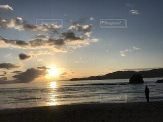 自然,海,空,太陽,ビーチ,水面
