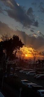 空,夕日,屋外,雲,夕焼け,樹木,都会,火