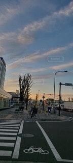 空,屋外,雲,青,夕焼け,通り