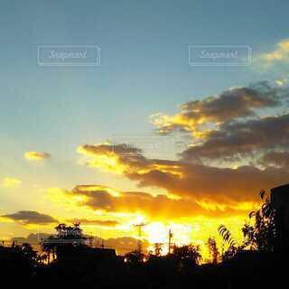朝日と龍のような雲の写真・画像素材[4046092]