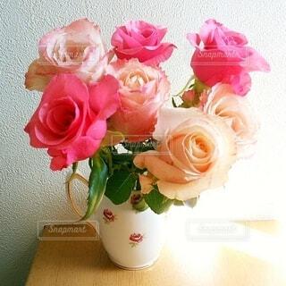 花,屋内,花瓶,バラ,花柄,切り花